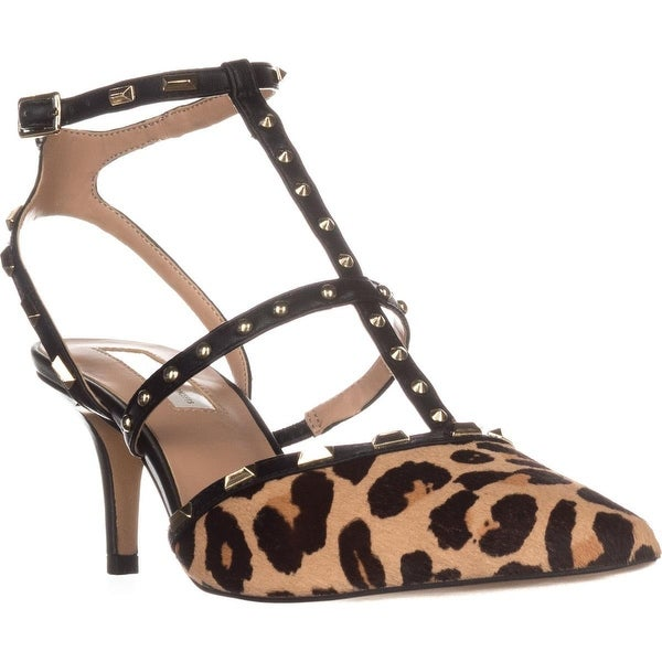 I35 Carma3 Studded T-Strap Sandals, Natural Leo