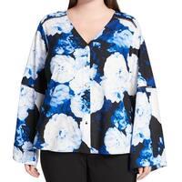 Calvin Klein Blue Womens 1X Plus Floral Chiffon Button Down Shirt