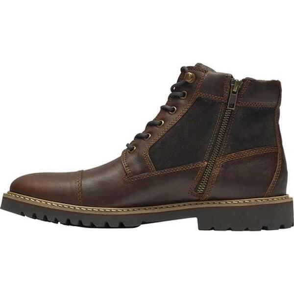 127ff7658d6aff Shop Rockport Men's Marshall Rugged Cap Toe Combat Boot Saddle Brown ...