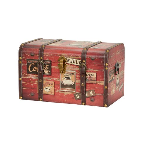 Medium Coffee Shop Decorative Home Storage Trunk - 11.4 x 18.5 inches