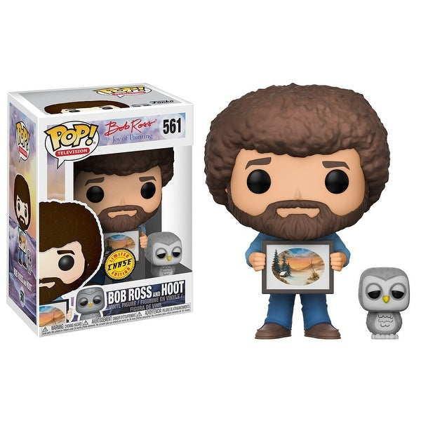 "FunKo POP! TV Bob Ross w/ Hoot 3.75"" CHASE VARIANT Vinyl Figure - multi"