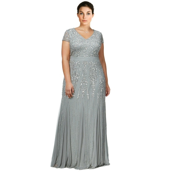 Shop Adrianna Papell Plus Size Beaded V Neck Evening Gown Dress Mist