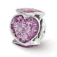 Italian Sterling Silver Reflections Violet Glitter Enameled Heart Bead (4mm Diameter Hole)