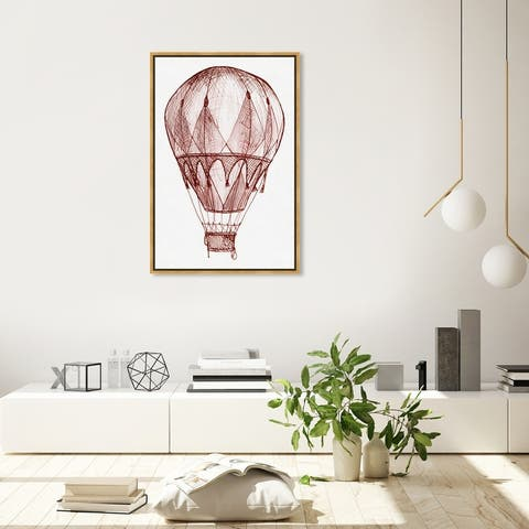 Oliver Gal 'Red Hot Air Balloon' Transportation Wall Art Framed Canvas Print Air Transportation - Red, White