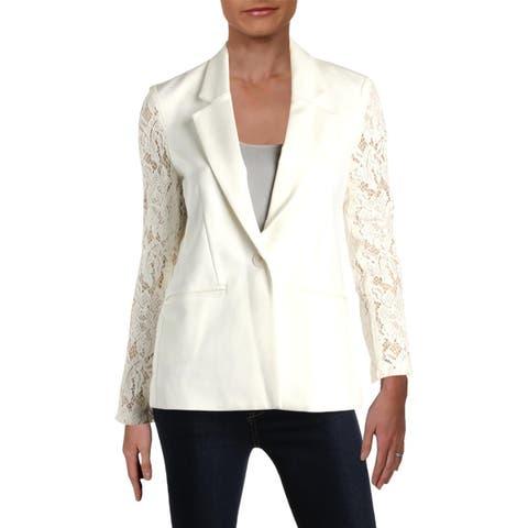 Aqua Womens One-Button Blazer Lace Sleeves Point Collar