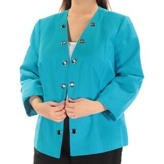 KASPER $104 Womens New 1483 Blue Eyelet Wear To Work Jacket 18W Plus B+B
