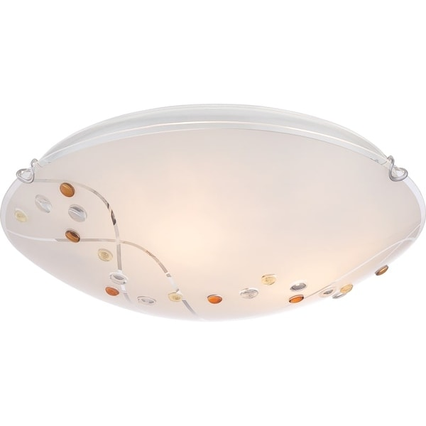 "Platinum PCSL1616 Stellar 3 Light 16"" Wide Flush Mount Ceiling Fixture with Etched Glass"