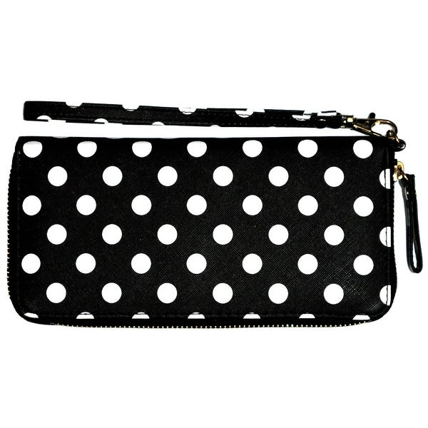 Polka Dot Wristlet Clutch Wallet With Wrist Strap, Black - Medium