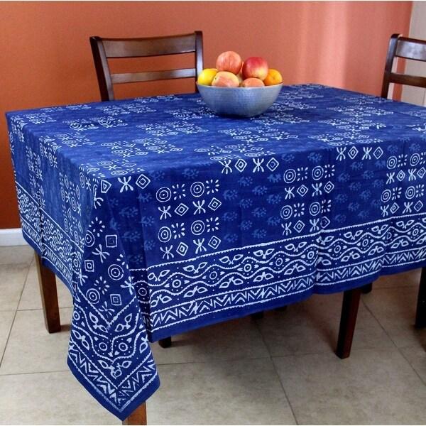 Cotton Dabu Hand Block Print Tablecloth for Square Table 72 x 72 Inch Indigo Blue - 72 Inches