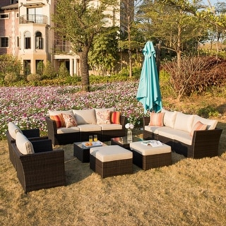 Link to Ovios Patio Furniture 12-piece Rattan Wicker Outdoor Sectional Set with 4 Pillows and 2 Covers Similar Items in Outdoor Arm Chairs