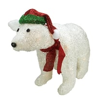 "23"" Lighted White Glittered Polar Bear Christmas Outdoor Decoration"