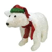 "23"" Lighted White Glittered Polar Bear Christmas Outdoor Decoration"