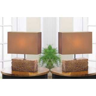 Set of 2 Gorgeous Smooth Rocks Table Lamp