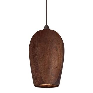Fredrick Ramond FR35009 1 Light Mini Solid Walnut LED Pendant with Bronze finish canopy from the Loft Collection