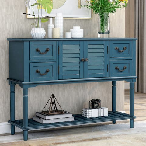 Antique Navy 4-Drawers Entryway Sofa Table with Shutter Doors