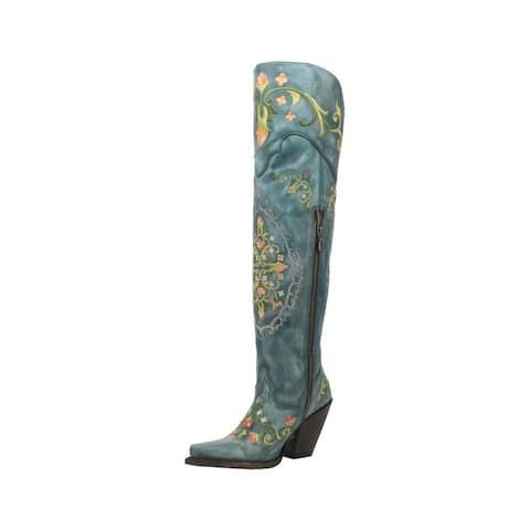 "Dan Post Fashion Boots Womens 20"" Flower Embroidery Zip Turq"