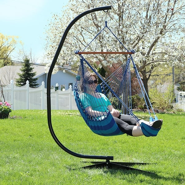 Sunnydaze Hanging Padded Cushioned Hammock Chair With Footrest Beach Oasis Overstock 28877157