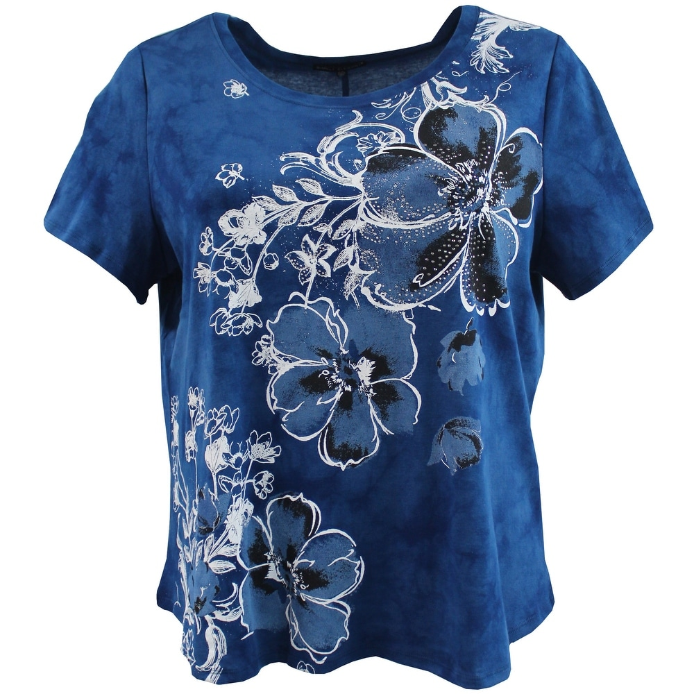 Women - Plus Size Long Sleeve Tie Dye Rhinestones Cotton Knit Top Blouse Shirt Strong Blue