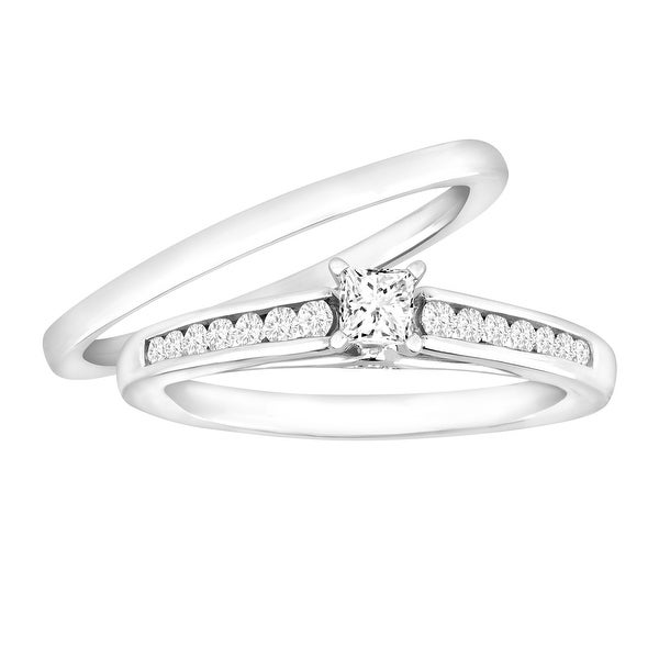 1/2 ct Diamond Bridal Ring Set in 14K White Gold