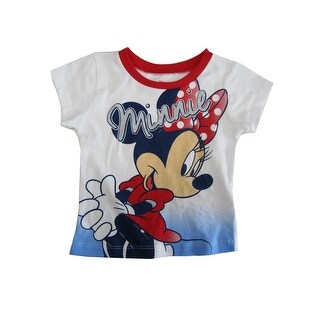 Disney Baby Girls White Blue Minnie Print Short Sleeve Trendy T-Shirt