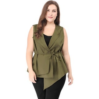 Allegra K Women's Plus Size Asymmetric Hem Layered Collar Belted Vest