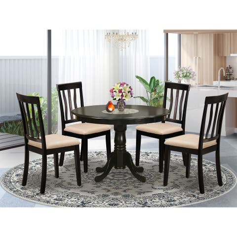 5 Piece Dining Set - Round Table and 4 Dinette Chairs in Cappuccino Finish (Finish Option)