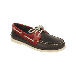 Sperry Mens A/O Cyclone Leather Boat Shoes in Dark Grey/Red