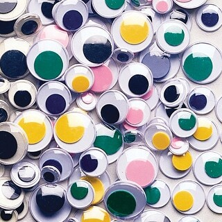 Assorted - Paste-On Wiggle Eyes Assorted 7mm To 15mm 100/Pkg