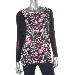 Kensie Womens Pullover Top Printed Contrast Trim