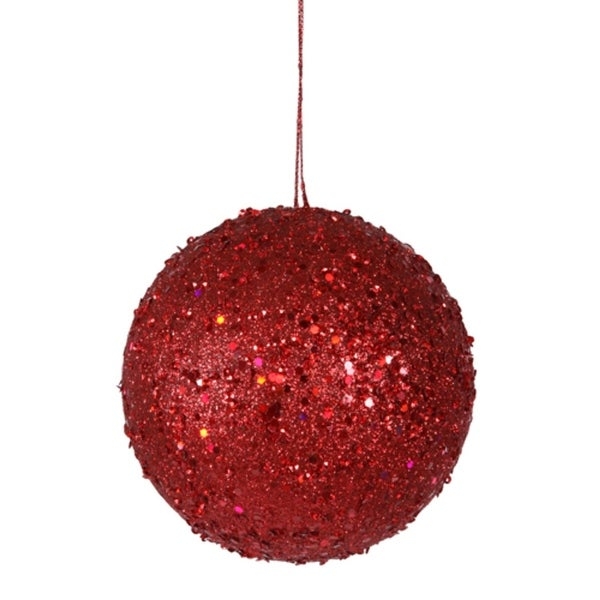 "Fancy Red Hot Holographic Glitter Drenched Christmas Ball Ornament 4.75"" (120mm)"