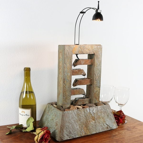 Sunnydaze 5 Tiered Slate Tabletop Fountain with LED Spotlight - 15 Inch Tall