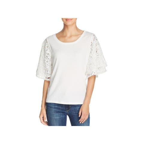Love Scarlett Womens Pullover Top Lace Bell Sleeve