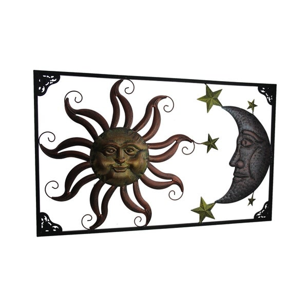 Tri-Tone Celestial Sun Moon and Stars Indoor/Outdoor Metal Wall Art