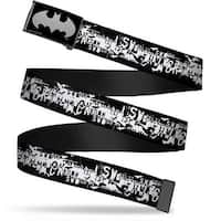 Batman Reverse Brushed Silver Cam Batman Action Verbiage Black White Web Belt