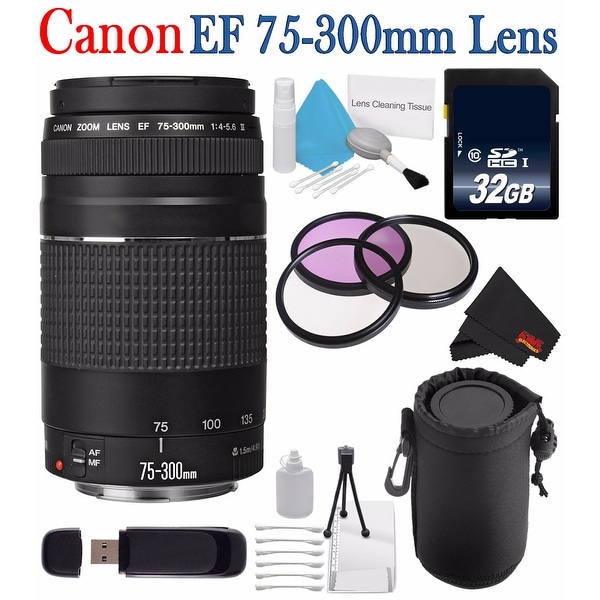 Canon EF 75-300mm f/4-5.6 III Telephoto Zoom Lens 6473A003 + 58mm 3 Piece Filter Kit + SD Card + 32GB SDHC Memory Card Bundle