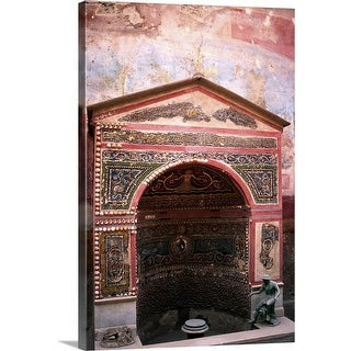 """Roman fountain decorated with mosaics, Pompeii, Italy"" Canvas Wall Art"