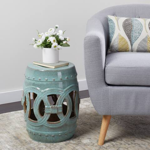 Abbyson Moroccan Antiqued Turquoise Garden Stool