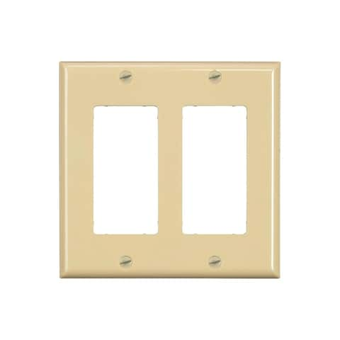 Monoprice 2-Gang Dcor Wall Plate - Ivory for Home ,Office, Personal Install