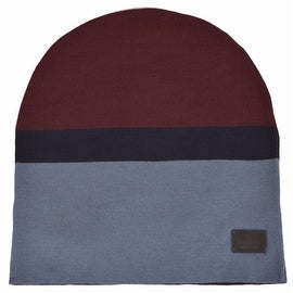 New Gucci Men's 353499 Wool Burgundy Blue Tab Logo Beanie Hat Large