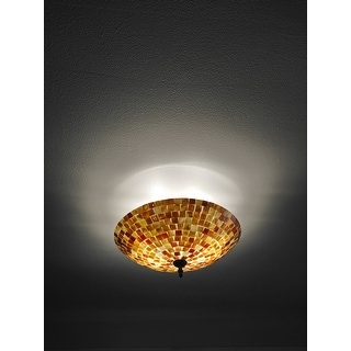 Chloe Mosaic Design 2-light Dark Bronze Semi Flush Mount