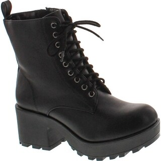 Soda Women's Magpie Faux Leather Lace-Up Combat Mid Heel Military Ankle Boots - Black