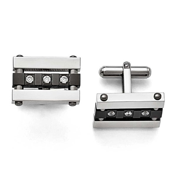 Chisel Stainless Steel CZ Black IP Polished Cuff Links