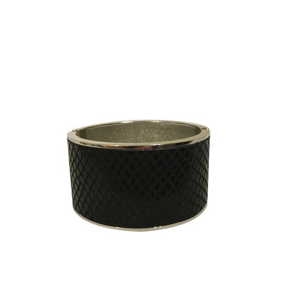 max & MO Black Leather Look Silver Hinged Cuff Bracelet