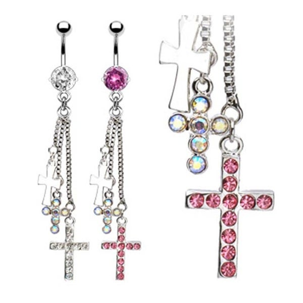 7mm Prong-Set Gem Navel Belly Button Ring with Three Assorted Gem Paved Cross Dangle (Sold Ind.)