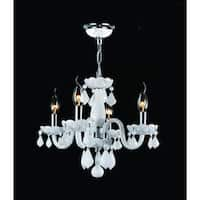 """Worldwide Lighting W83100C16-WH Clarion 4-Light 1 Tier 16"""" Chrome Chandelier with White Crystals"""