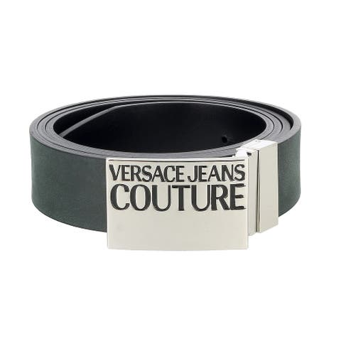 Versace Jeans Couture Black Square Buckle Logo Ratchet Adjustable/Reversable Leather Belt - 42