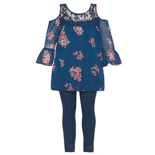Little Girls Navy Floral Print Ruffle Cold Shoulder 2 Pc Legging Outfit