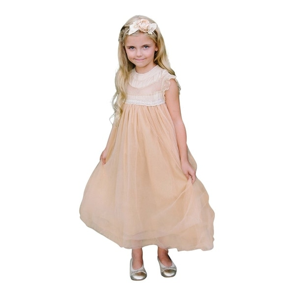 Think Pink Bows Baby Girls Hazelnut Lace Adrianna Flower Girl Dress 1Y
