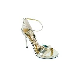 Roberto Cavalli Womens Metallic Gold Leather Chain High Heel Sandals