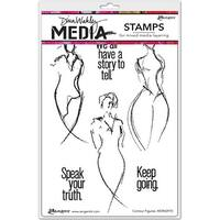 """Dina Wakley Media Cling Stamps 6""""X9""""-Contour Figures"""